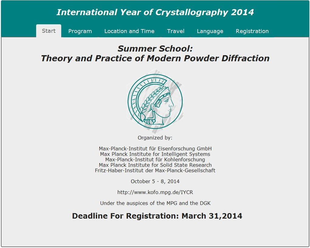 October 5 - 8, 2014Under the auspices of the MPG and the DGKDeadline For Registration: March 31,2014