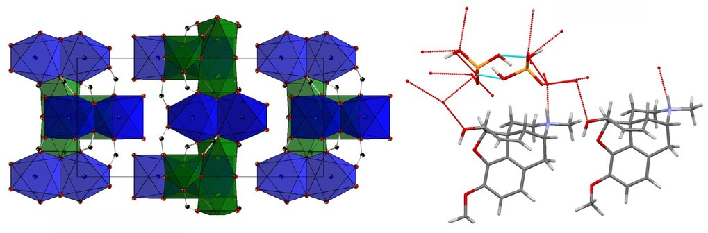 Crystal structures of inorganic corrosion product (left) and organic active pharmaceutical ingredient (right).