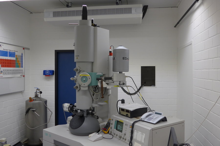 The CM200 is a widely-used microscope, excellent for conventional TEM work. It has a LaB6 source, operated with a 200kV accelerating voltage. This TEM is ideal for bright field and dark field imaging, and for dislocation and defect analysis using diffraction contrast imaging, including the weak-beam dark field technique. The available range for tilting is large and the microscope can accommodate a cooling holder.