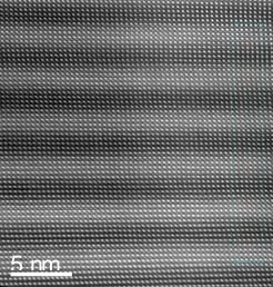 Fig. 1: High resolution TEM image from (4uc/4uc)10 LaNiO3-LaAlO3 superlatice