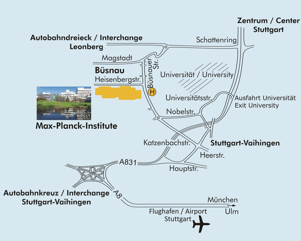 "<p style=""text-align: left;""><strong><strong>By Car:</strong></strong> At Autobahnkreuz Stuttgart (the Stuttgart motorway interchange, exit 51, Vaihingen). Take the A831, direction «Stuttgart-Mitte». Leave at the «Universität» exit. At the traffic lights on the bridge, turn left, direction «Universität». Follow Universitätsstraße, then turn right into Nobelstraße. At the end of Nobelstraße (roundabout), turn right into Büsnauer Straße (first exit).<br /><strong>Public transport from Stuttgart Main Station:</strong> Take lines S1, S2 or S3 of the Underground («S-Bahn»), in the direction of «Herrenberg» or «Flughafen». Get off at Vaihingen. Change to bus line 81 (direction «Büsnau») and get off at «Max-Planck-Institute».<br />At Vaihingen station you can also take a taxi to the  «Max-Planck-Institute»).<br /><strong>Public transport from Stuttgart Airport:</strong> Take lines S2 or S3 of the Underground («S-Bahn»), directions «Schorndorf» or  «Backnang». Get off at Vaihingen. Change to bus line 81 (direction «Büsnau») and get off at «Max-Planck-Institute».<br /> At Vaihingen station you can also take a taxi to the  «Max-Planck-Institute»).</p>"