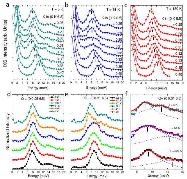 <p><strong>Fig. 2:</strong> (a) Momentum dependence of the IXS spectra along the <em>Z</em>–<em>T</em> direction of reciprocal space at <em>T</em>=5K. (b) at <em>T</em>=<em>T</em><sub>c</sub>=61K. (c) at <em>T</em>=150K. (d) Temperature dependence of the inelastic part of the IXS spectra at <strong>q</strong>=(<em>0, 0.25, 6.5</em>). (e) Temperature dependence of the inelastic part of the IXS spectra at <strong>q</strong>=<strong>q</strong><sub>CDW</sub>=(<em>0, 0.31, 6.5</em>). (f) Details of the fits of the IXS spectra at <strong>q</strong><sub>CDW</sub> at 5, 61, and 295K. A logarithmic scale has been used for clarity. The dashed lines and tick marks indicate the individual phonon profiles resulting from the fits and their maxima, respectively.</p>
