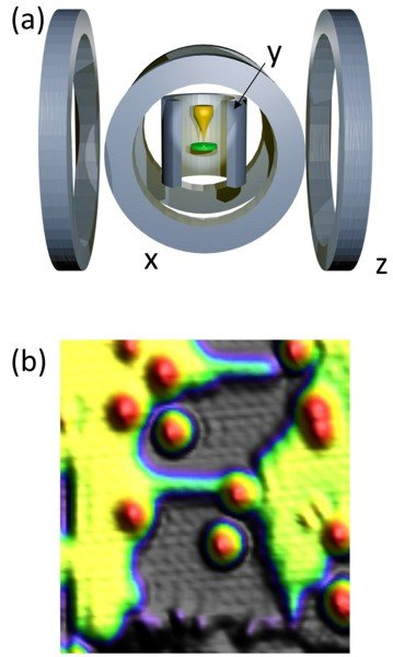 <p><strong>Fig. 1:</strong> Magnetic vector-field scanning tunneling microscope. (a) Schematic of the vector magnet coil assembly with one solenoid and two Helmholtz coil pairs. STM is located in the center of the coils where arbitrarily oriented magnetic fields can be generated. (b) Constant current topography of isolated Fe atoms on Cu<sub>2</sub>N/Cu(100). Copper surface (yellow), copper nitride patches (black) and Fe atoms (red). Image size (12x12)nm<sup>2</sup>, setpoint 10mV, 0.1nA.</p>