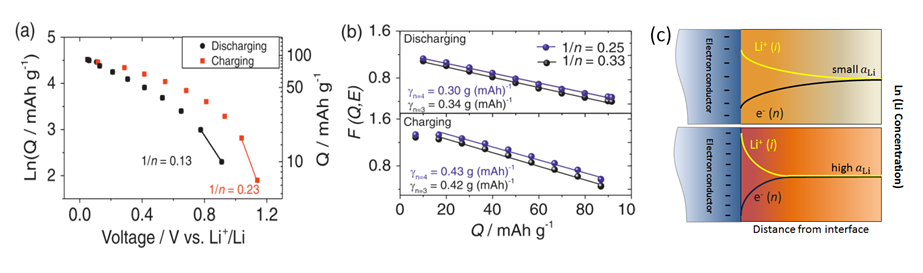 "<strong><strong>Fig. 2: </strong></strong>(a) Dependence of lithium interfacial storage on lithium activity in Ru:Li<sub>2</sub>O nanocomposites (10<sup>th</sup> cycle); (b) Dependence of <em style=""font-size: 0.8em;"">F (Q, E) </em>on interfacial storage <em style=""font-size: 0.8em;"">Q</em>, taking account of both diffusive and electrostatic storage. These plots are derived from galvanostatic discharge/charge measurements of Ru:Li<sub>2</sub>O nanocomposites (prepared by lithiation method from RuO<sub>2</sub>) in voltage range of 1.2 – 0.005V vs. Li<sup>+</sup>/Li, with a current density of 600 mA g<sup>–1</sup>; (c) Sketch of Li storage in a nanocrystalline electroactive material which can store Li in bulk and subsurface at both (a) small and (b) high Li activity. Higher storage increases both bulk and space charge storage, but the latter to a lesser degree. In addition, the profiles narrow owing to increased screening [3]."