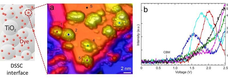 <strong>Fig. 1:</strong> N3 molecules on TiO<sub>2</sub> anatase (101). (a) High-resolution STM image revealing multiconformational N3 adsorption geometries and submolecular resolution of N3 on an atomically resolved substrate. (b) Corresponding d<em>I</em>/d<em>V</em> spectra taken at positions indicated in (a).