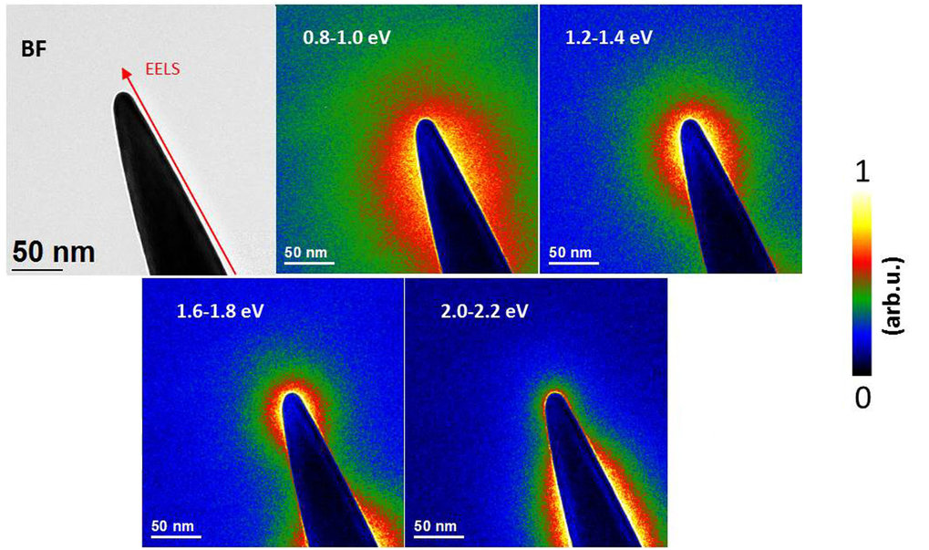 Investigation of plasmonic modes of gold tapers by EFTEM and EELS