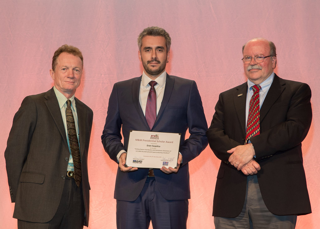"We are proud to announce that Mr. Y. Eren Suyolcu, PhD student in the Stuttgart Center for Electron Microscopy, has been awarded a ""2016 M&M Student Award"" (Presidential Scholar Award) at the Microscopy & Microanalysis Conference 2016 in Columbus, Ohio. The award is sponsored by the Microscopy Society of America and the Microanalysis Society. The prize was awarded for the research project ""Linking Dopant Distribution and Interatomic Distortions at La1.6M0.4CuO4/La2CuO4 Superconducting Interfaces"" with co-authors Y. Wang, W. Sigle, G. Cristiani, G. Logvenov and P.A. van Aken."