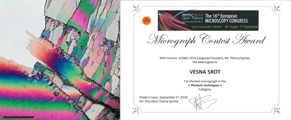 "We are proud to announce that Dr. Vesna Srot, scientist in the Stuttgart Center for Electron Microscopy, has been awarded the ""Best Micrograph"" at the 16th EUROPEAN MICROSCOPY CONGRESS, September 2016 in Lyon, France.The prize was awarded for the best micrograph in the ""Photonic Techniques"" category."