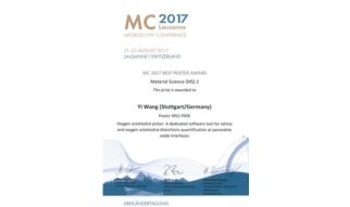 "We are proud to announce that Dr. Yi Wang of the Stuttgart Center for Electron Microscopy has been awarded the prize for the ""best poster"" in the materials science catagory at the 2017 Microscopy Conference in Lausanne Switzerland for the work entitled ""Oxygen octahedral picker: A dedicated software tool for lattice and oxygen octahedral distortions quantification at perovskite oxide interfaces"" with coauthors U. Salzberger, W. Sigle, Y. E. Suyolcu and P. A. van Aken."