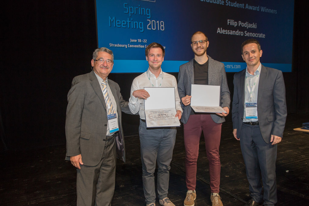 Filip Podjaksi won a Graduate Student Award of the European Materials Research Society (E-MRS) at the Spring Meeting 2018, Strasbourg.