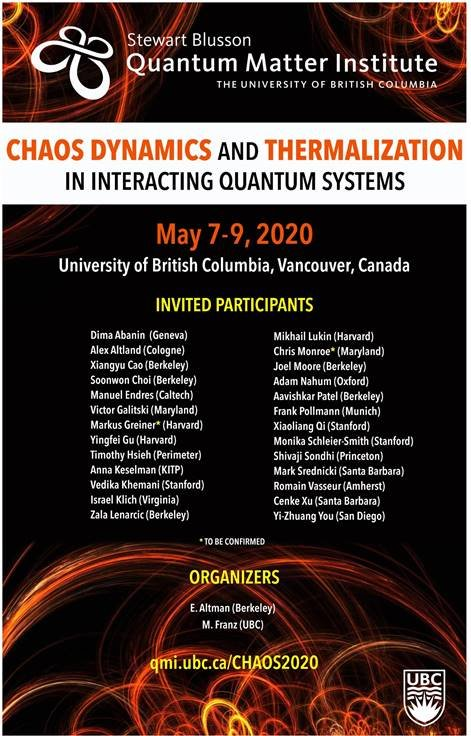 <em><strong>*Canceled*</strong></em>Workshop: Chaos Dynamics and Thermalization in Interacting Quantum Systems